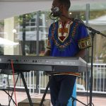 SD Band keyboard player at the 2017 Iowa Soul Festival in Iowa City. IA (Summer of the Arts)
