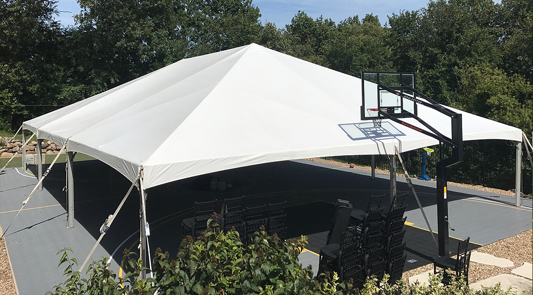 40' x 60' hybrid event tent setup on a Basketball court in Coralville, Iowa