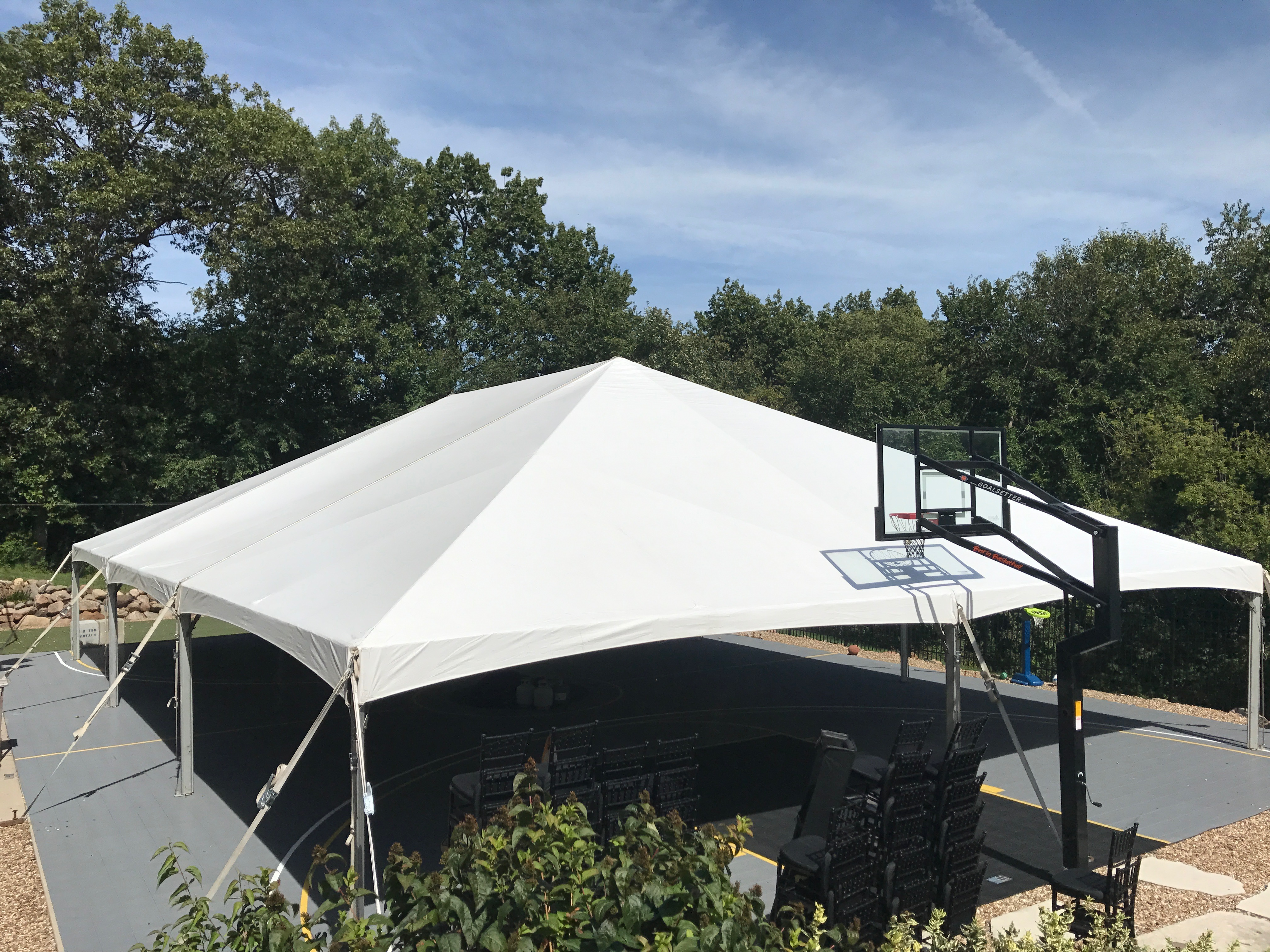 40' x 60' hybrid event tent setup on a Basketball court in Coralville, IA