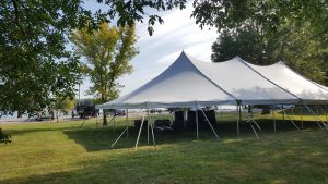 40' x 80' rope and pole tent in Muscatine, Iowa