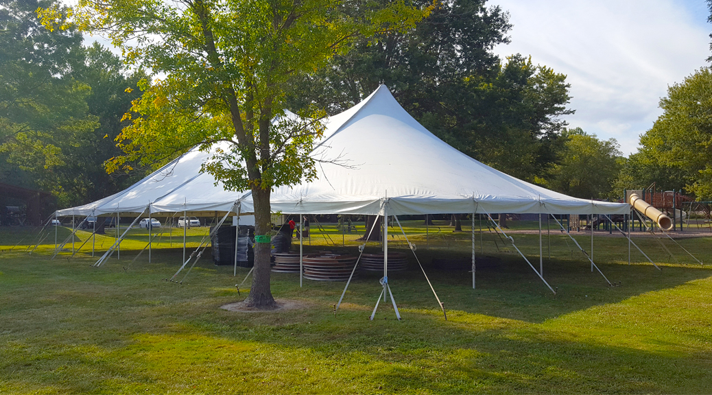 Big Ten Rental's 40' x 80' rope and pole tent in Muscatine, IA