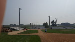 Towable bleachers at Field of Dreams by Big Ten Rentals (not the wooden ones from the movie)