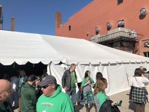 Saint Patrick's Day event under 30' x 75' frame tent at Steve's Old Time Tap in Rock Island, IL