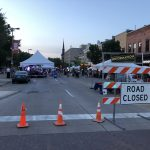 Road Closed and tents at 2018 Iowa City Jazz Festival at Summer of the Arts in Iowa
