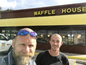 Brian and Tyler at a Waffle House