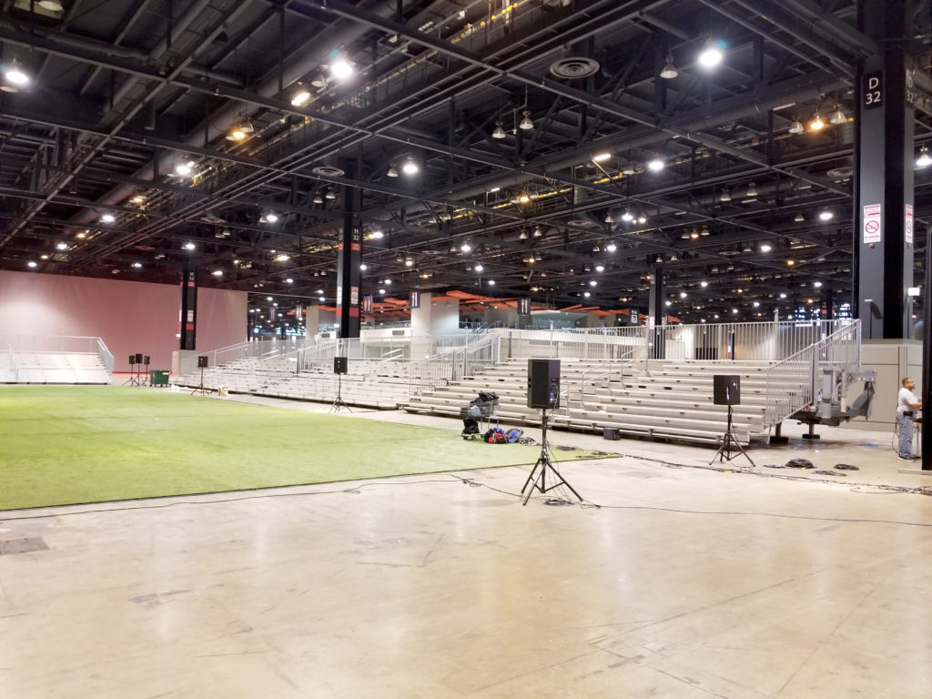 Bleacher delivery for United Soccer Coaches in Mccormick Place in Chicago, Illinois