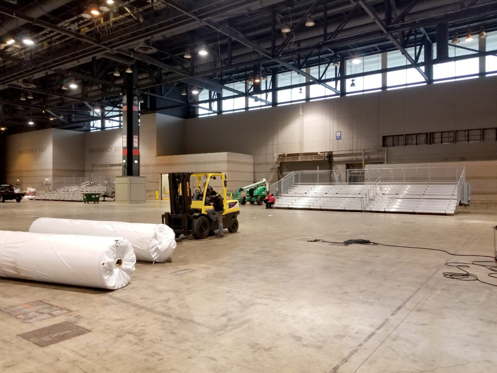 Bleacher delivery in Chicago, Illinois for for United Soccer Coaches in Mccormick Place in IL