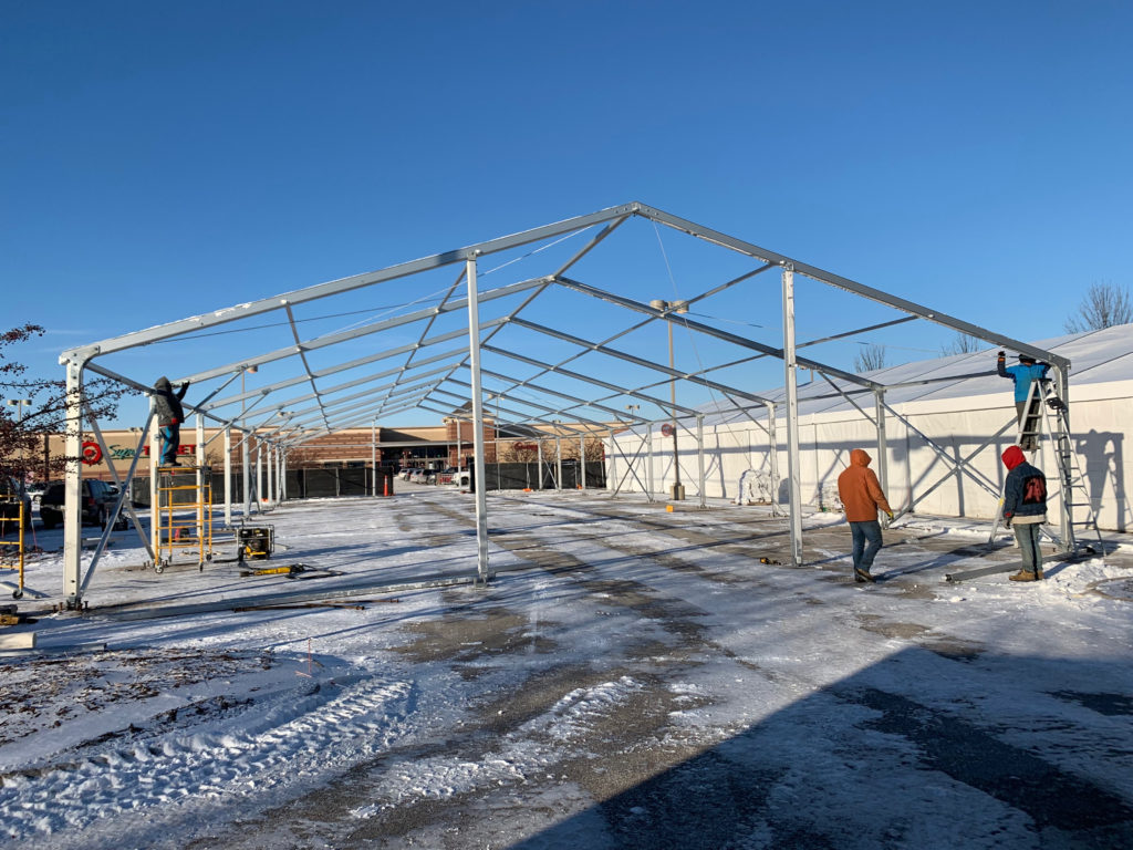 Setting Up Temporary Warehouse Structures (On-Site Tent)