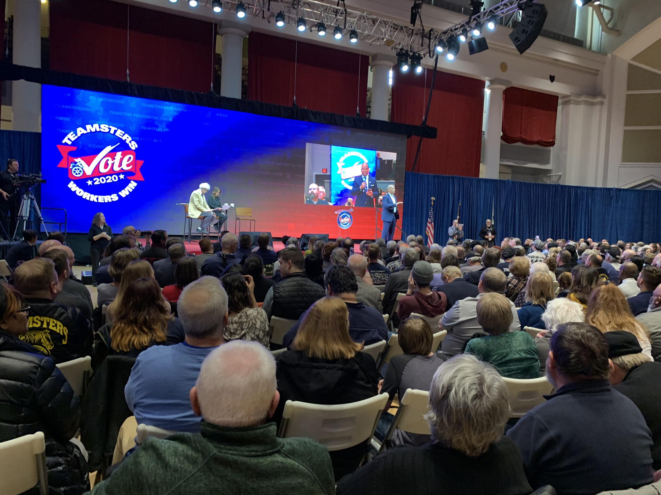 Cory Booker at Teamsters Presidential Forum in December 7, 2019Cory Booker at Teamsters Presidential Forum in December 7, 2019
